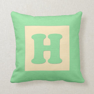 Baby building block throw pIllow letter H (green) Throw Cushion