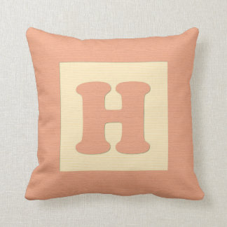 Baby building block throw pIllow letter H (orange)
