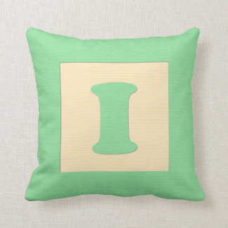 Baby building block throw pIllow letter I green