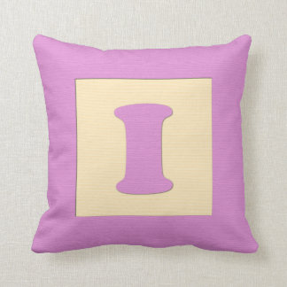 Baby building block throw pIllow letter I pink