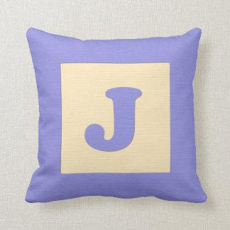 Baby building block throw pIllow letter J (blue)