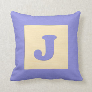 Baby building block throw pIllow letter J (blue) Cushions