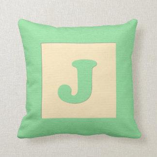 Baby building block throw pIllow letter J (green)