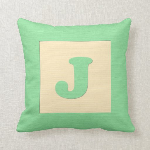 Baby building block throw pIllow letter J (green)