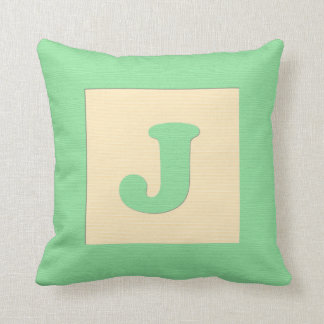 Baby building block throw pIllow letter J (green) Throw Cushions