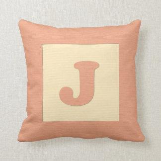Baby building block throw pIllow letter J (orange)