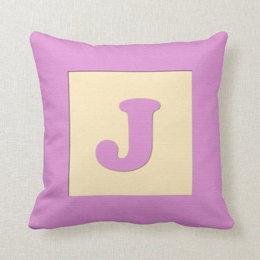 Baby building block throw pIllow letter J (pink)