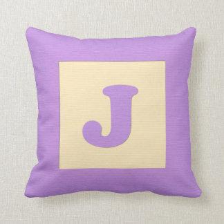 Baby building block throw pIllow letter J (purple)