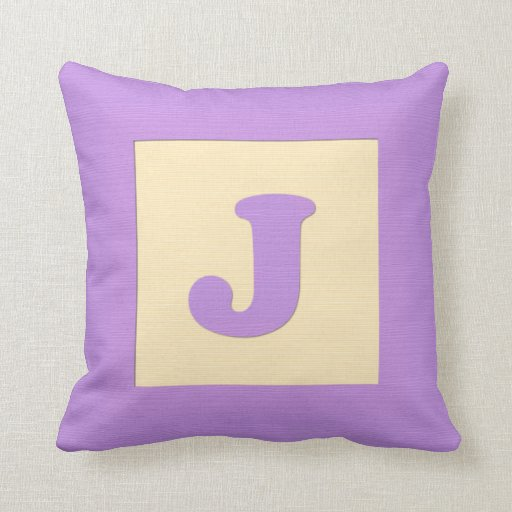 Baby building block throw pIllow letter J (purple)