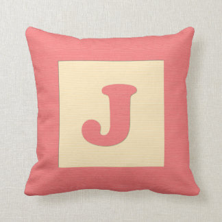 Baby building block throw pIllow letter J red