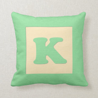 Baby building block throw pIllow letter K (green) Cushion