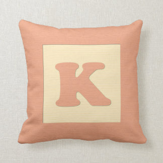 Baby building block throw pIllow letter K (orange)
