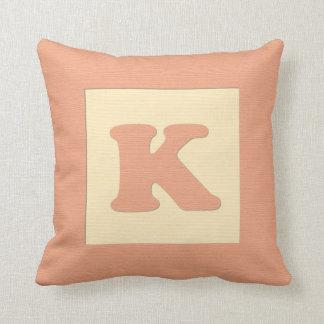 Baby building block throw pIllow letter K (orange) Throw Cushion