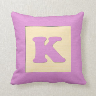Baby building block throw pIllow letter K pink