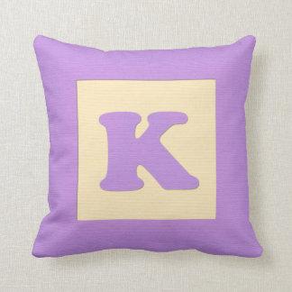 Baby building block throw pIllow letter K purple