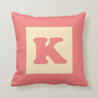 Baby building block throw pIllow letter K red