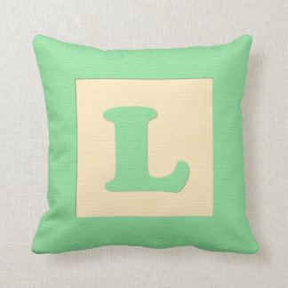 Baby building block throw pIllow letter L (green) Cushion