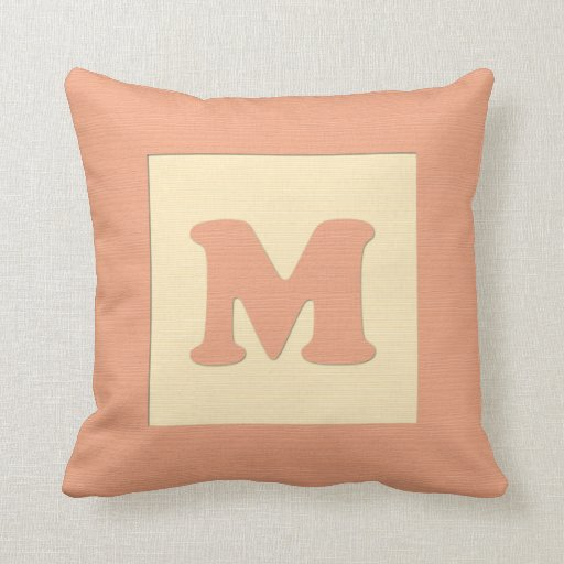 Baby building block throw pIllow letter M (orange)