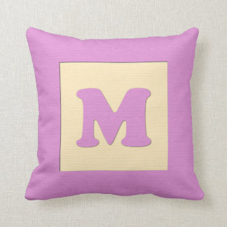 Baby building block throw pIllow letter M (pink)