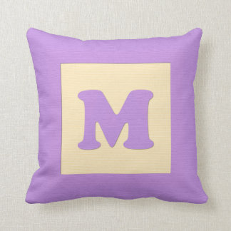 Baby building block throw pIllow letter M (purple)
