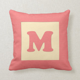 Baby building block throw pIllow letter M red