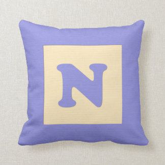 Baby building block throw pIllow letter N blue
