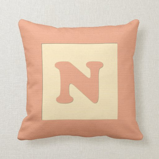 Baby building block throw pIllow letter N (orange)