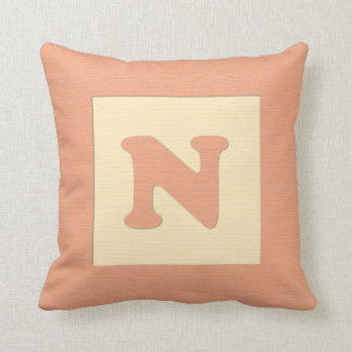 Baby building block throw pIllow letter N (orange) Cushions