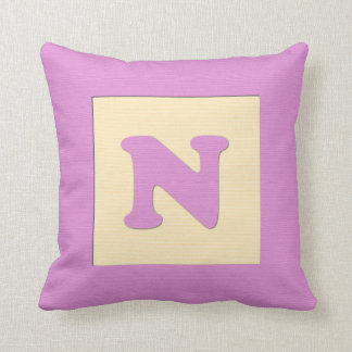 Baby building block throw pIllow letter N pink