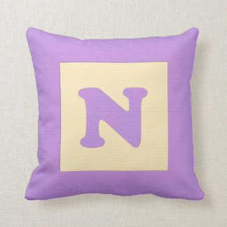 Baby building block throw pIllow letter N (purple) Cushion