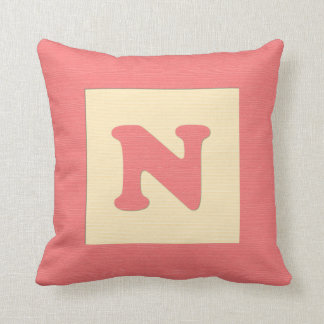 Baby building block throw pIllow letter N red