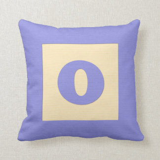 Baby building block throw pIllow letter O blue