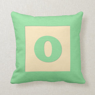 Baby building block throw pIllow letter O (green) Cushion