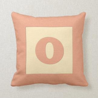 Baby building block throw pIllow letter O (orange)