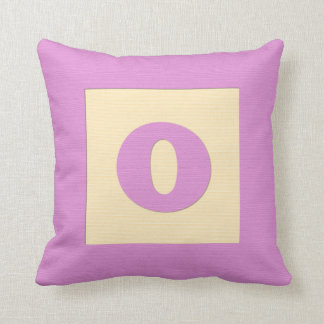 Baby building block throw pIllow letter O pink