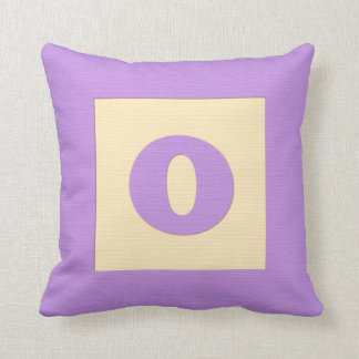 Baby building block throw pIllow letter O (purple) Throw Cushions