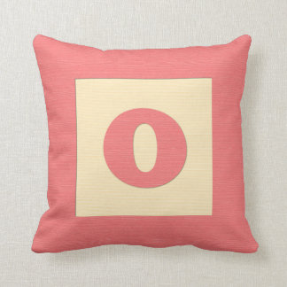 Baby building block throw pIllow letter O red