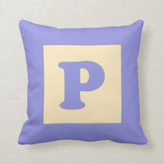 Baby building block throw pIllow letter P blue