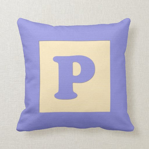 Baby building block throw pIllow letter P (blue)