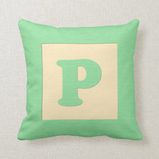 Baby building block throw pIllow letter P (green)