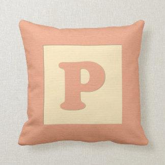 Baby building block throw pIllow letter P (orange)