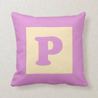 Baby building block throw pIllow letter P pink