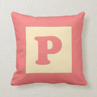 Baby building block throw pIllow letter P red