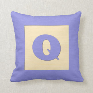 Baby building block throw pIllow letter Q blue