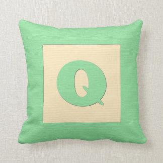 Baby building block throw pIllow letter Q (green) Throw Cushion