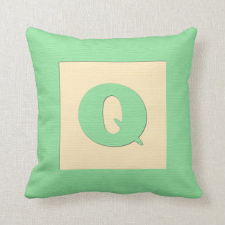Baby building block throw pIllow letter Q (green) Throw Cushion