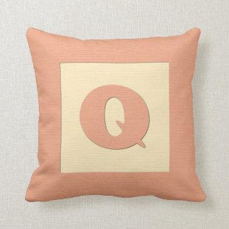 Baby building block throw pIllow letter Q orange