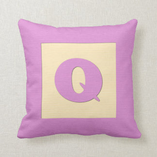 Baby building block throw pIllow letter Q pink