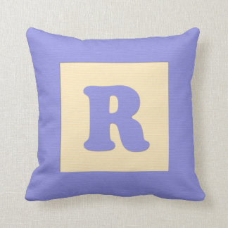Baby building block throw pIllow letter R blue