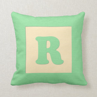 Baby building block throw pIllow letter R (green)